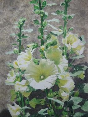 Hollyhocks Puy d'Arnac - size 19in x 14in - price $1700