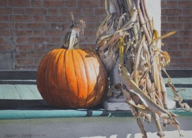 Autumn Porch with Pumpkin - size 12in x 16.5in - sold