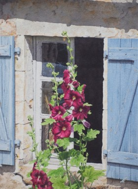 Hollyhocks and Blue Shutters - size 16in 11.5in - price $1200