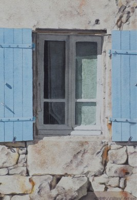 Blue Shutters and Lace - size 18in x 12in - price $1250