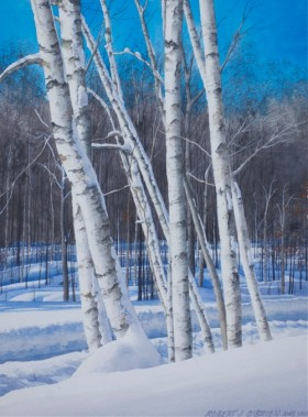 Snow Birches - size 16in x 12in - sold