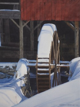 Weston Mill in Winter - size 21in x 15in - price $2500