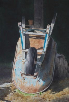 Blue Wheelbarrow - size 21 x 14in - price $2400