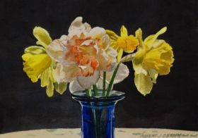 Daffodils with Blue Vase - 9 x 12in (image)